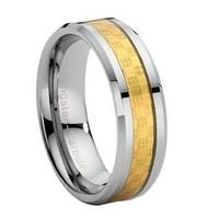 Gold Carbon Fiber Inlay Tungsten Carbide Wedding Band Ring - Free Ship