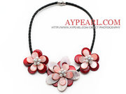 White Freshwater Pearl and Red Shell Flower Leather Necklace