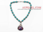 Turquoise Necklace with Imperial Jasper Pendant