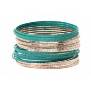 Teal and Rose Gold 20 Piece Bangle Set