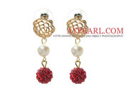 White Freshwater Pearl and Red Rhinestone Studs Earrings