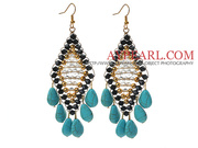 Crystal and Teardrop Shape Turquoise Earrings