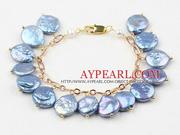 Blue Coin Freshwater Pearl Bracelet