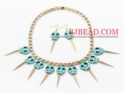 Halloween Style Skull Turquoise Necklace